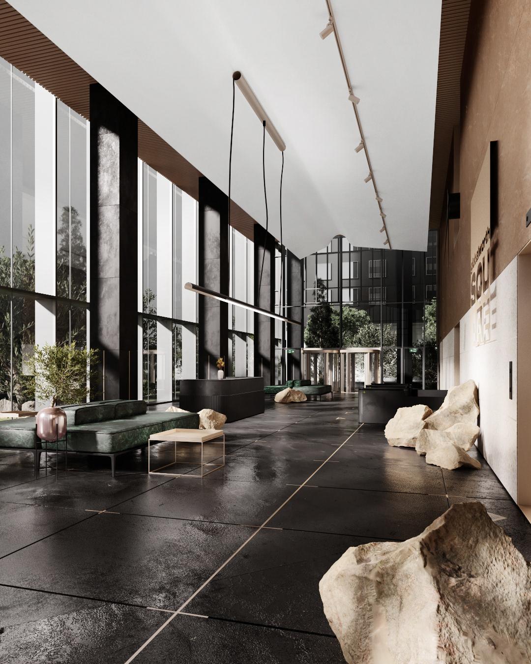 3dsmax archviz building exterior Interior Lobby Office rendering skyscraper visualisation