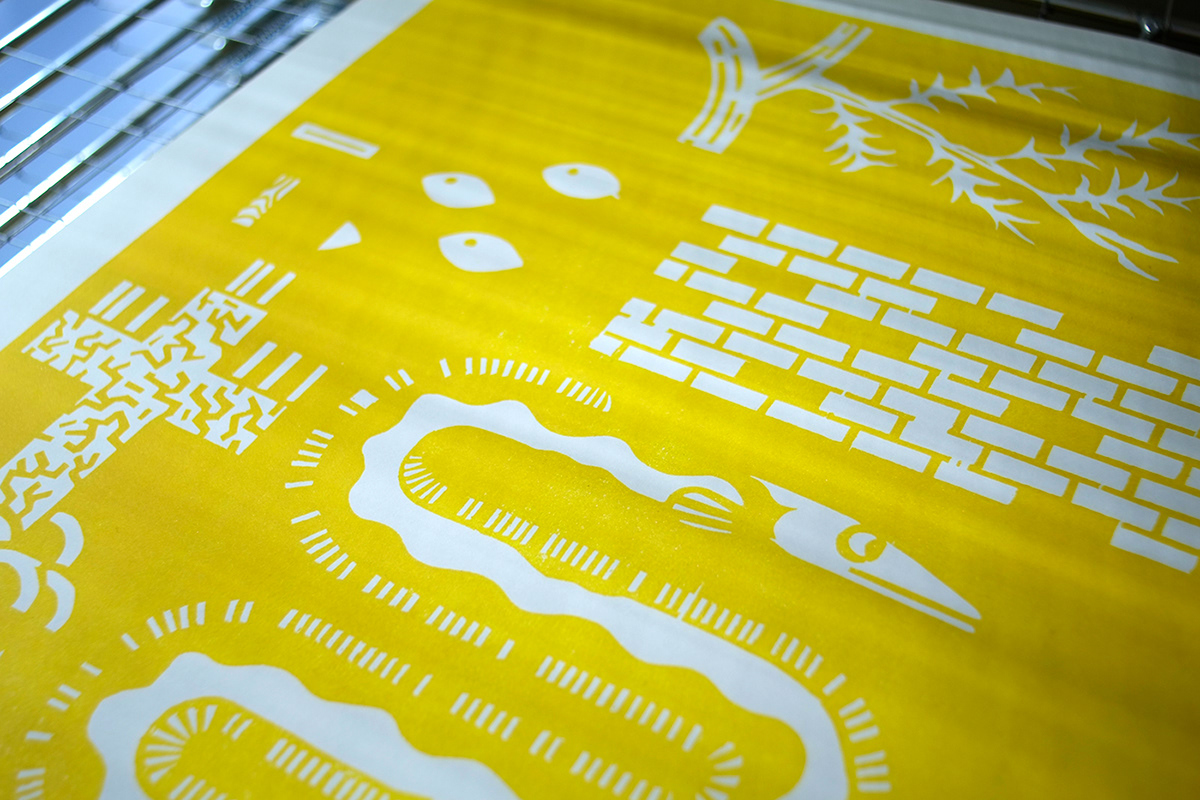 woodcut Holzschnitt  druckgrafik printmaking aal eel contemporary pattern graphic