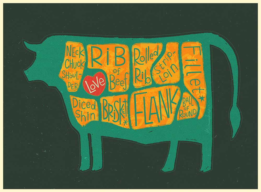 Fun meat butcher cow illustrated whimsical Show Exhibition
