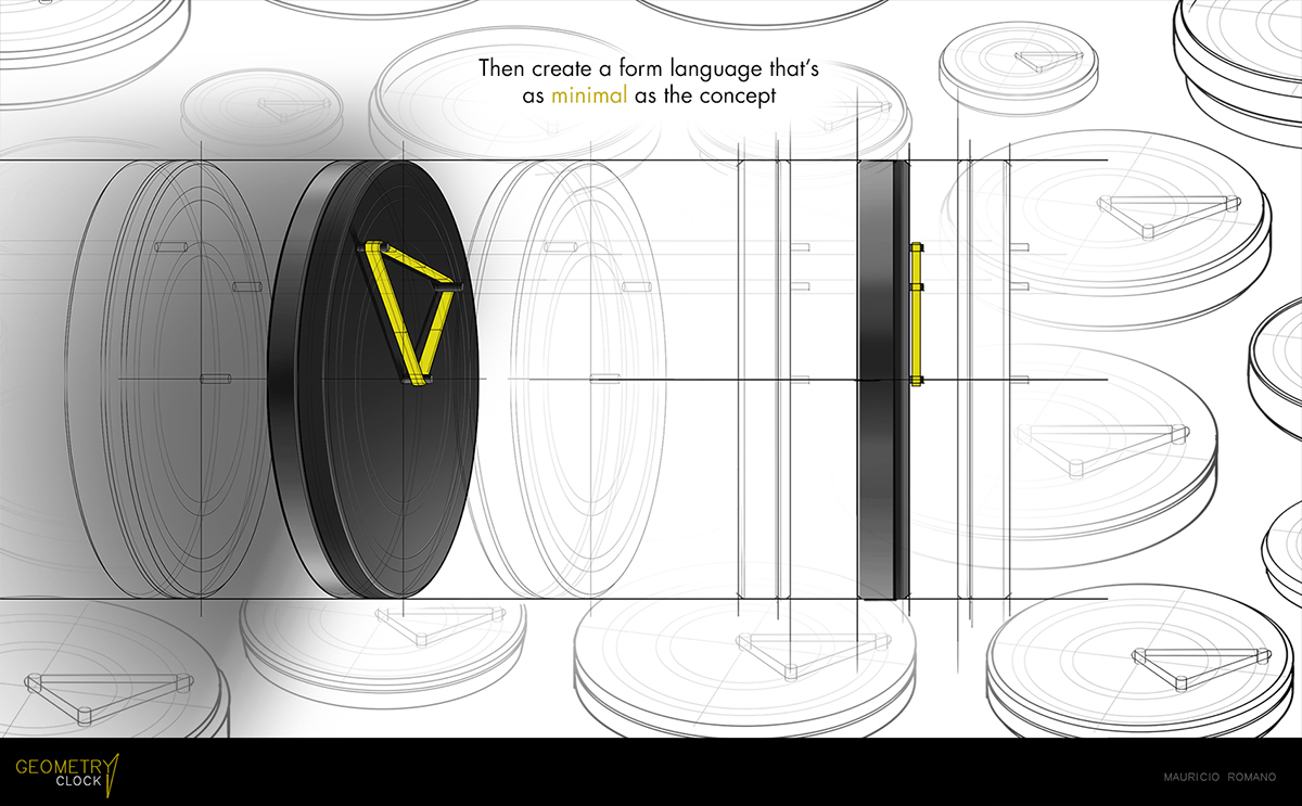 clock geometry time design shapes industrial Minimalism watch mauricio romano