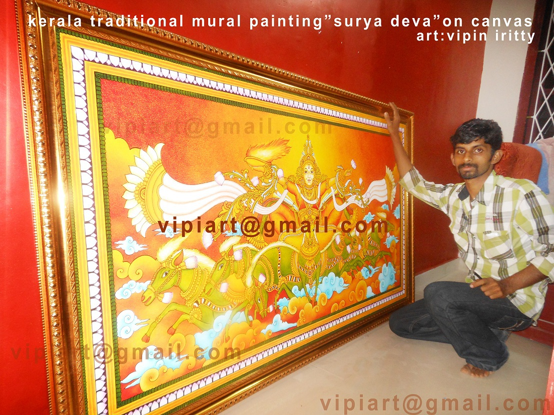 Sooryadeva,canvas Painting,kerala Mural Painting,mural Painting ,soorya  Deva Paintings,traditional Art Kerala,vipin Iritty  ,vipiart@gmail.com,9400661412 ... Part 90