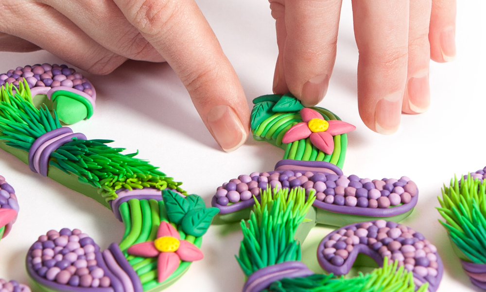 type sculpture letters decorated font putty clay modeling spring Plasticine Easter handmade