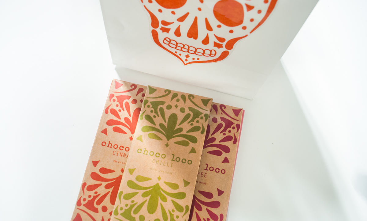 chocolate package design graphic chocolate bar bar Mexican skull candy skull day of the dead