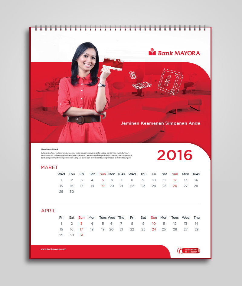 Corporate Calendar Design 2016 : Bank mayora calendar agenda design prototype on