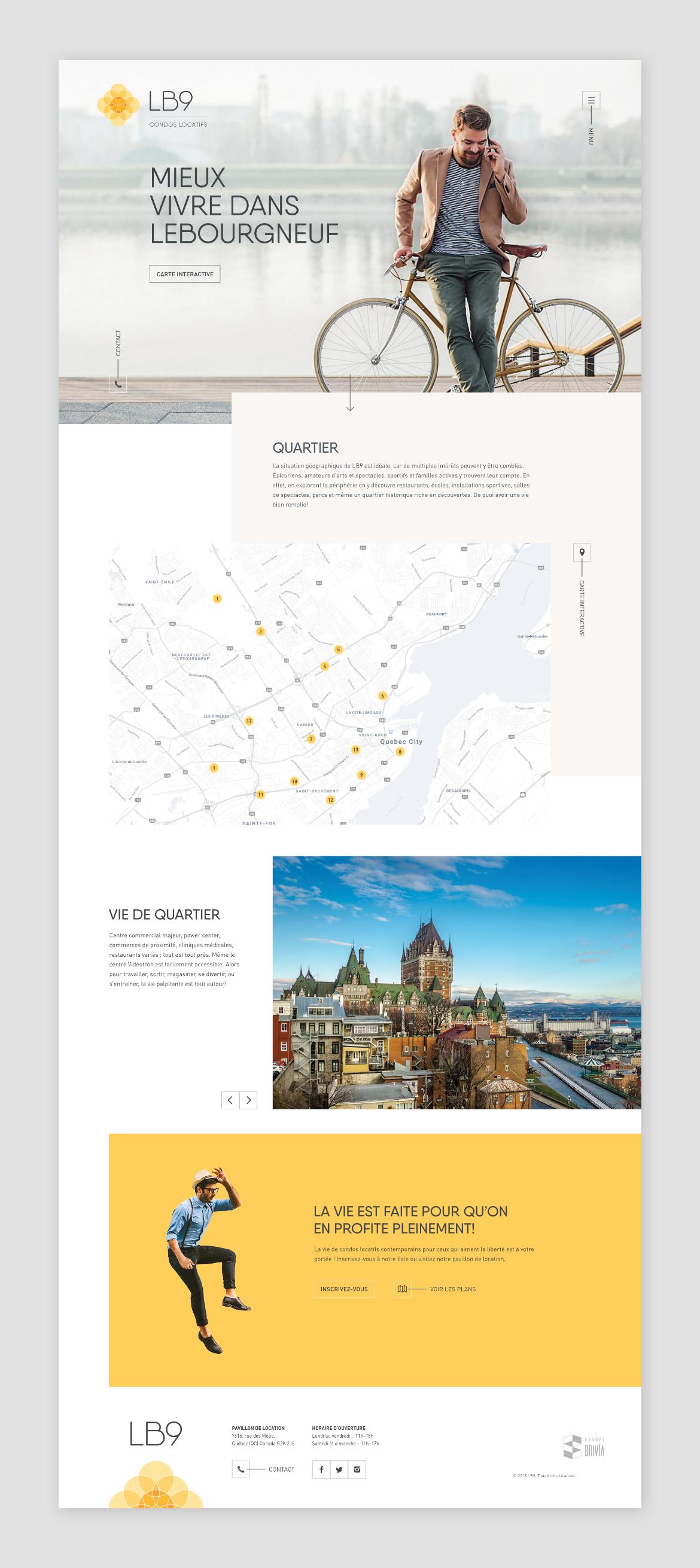 condos quebec city Web Design  lebourgneuf ui design Website property housing lifestyle real estate