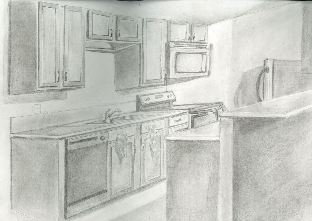 kitchen drawing perspective. simple kitchen intended kitchen drawing perspective