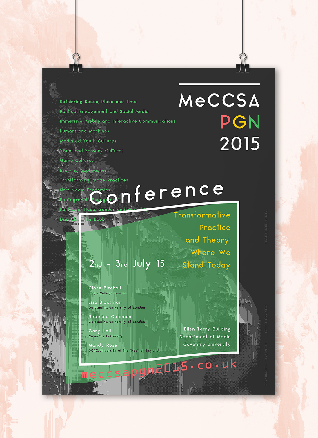 conference poster programme branding  Glitch academic logo identity