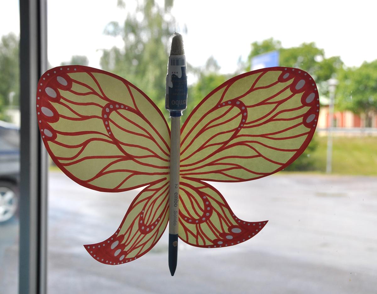 decoration paper store Window Flowers butterflies Window-dressing Shopping ILLUSTRATION  design