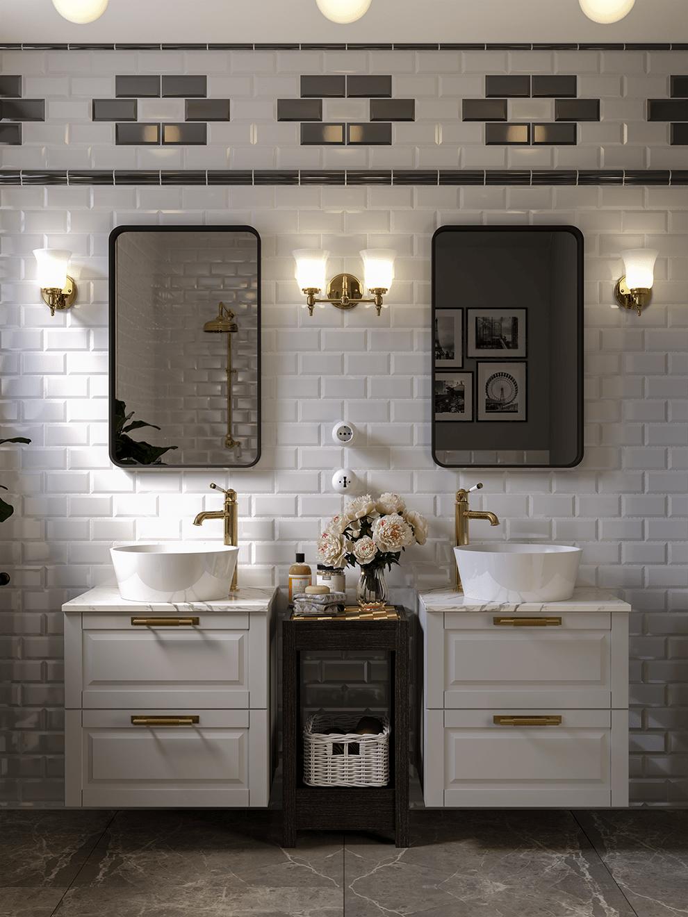 bathroom Render subway tiles ikea interior design