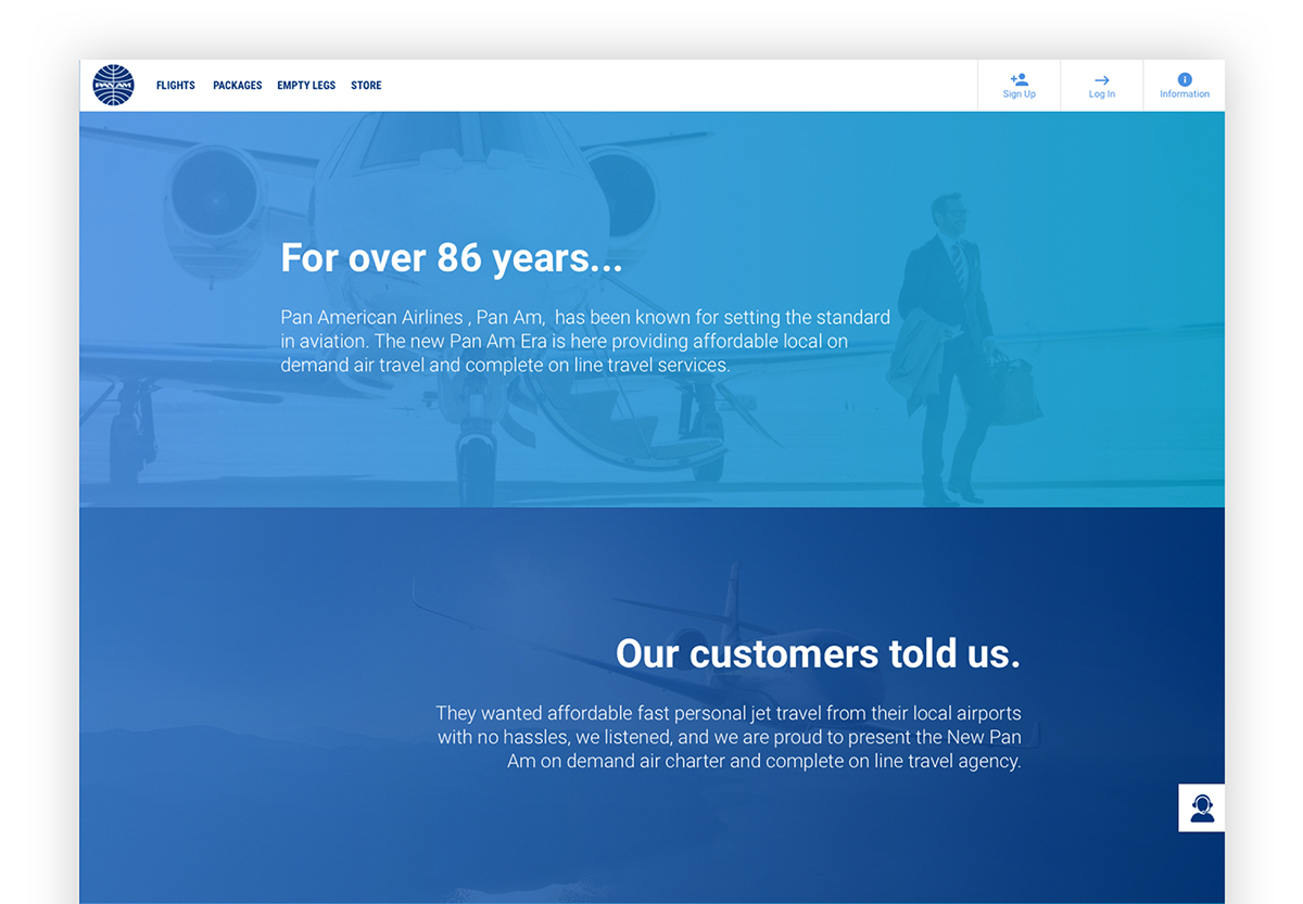 Pan Am - Responsive Booking Website on Pantone Canvas Gallery