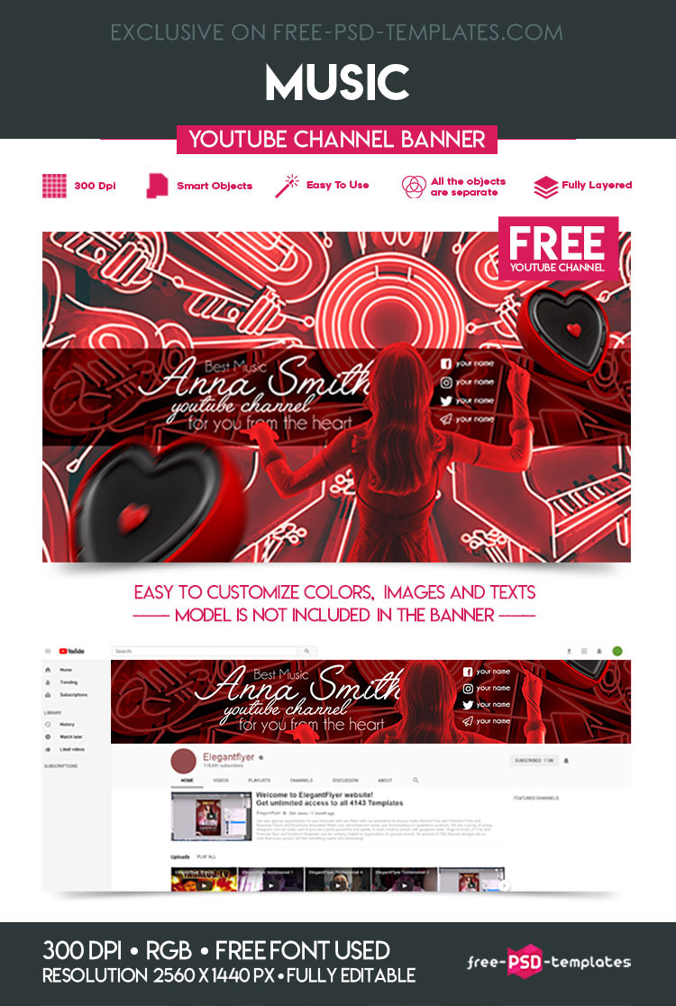 FREE MUSIC YOUTUBE CHANNEL BANNER on Behance