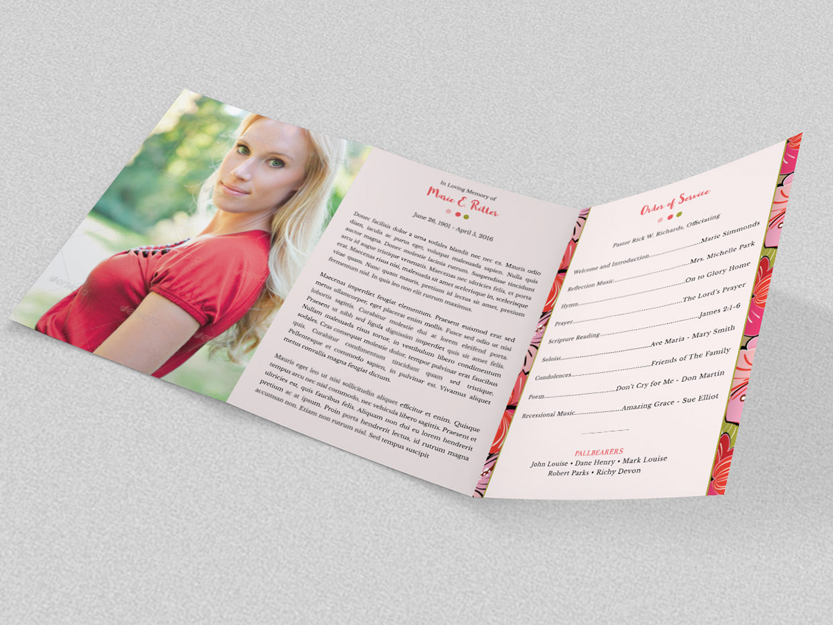 hibiscus a5 tri fold funeral program on behance