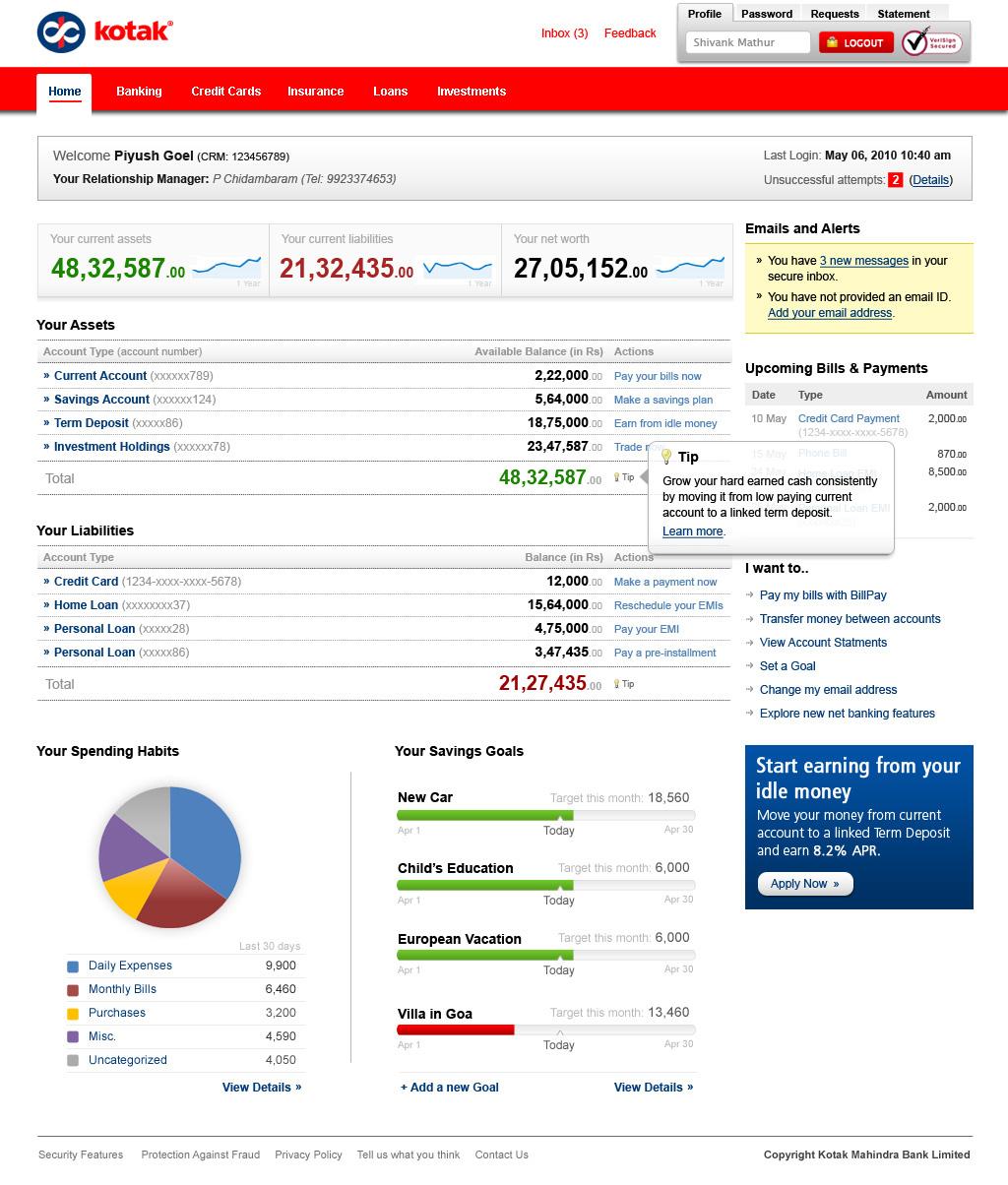 kotak Netbanking web form design india web design india data design