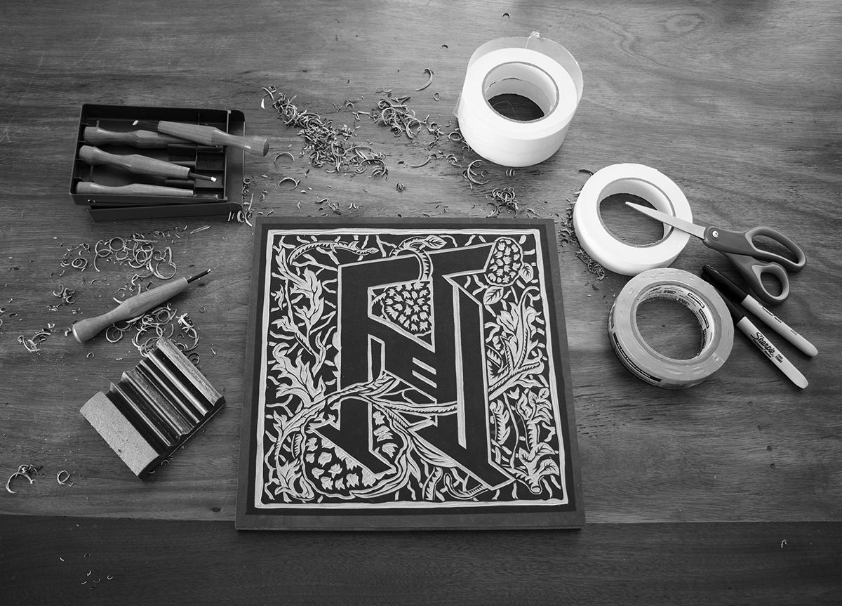 woodcut printmaking xilogravura band Album cover Anahara brasilia Madeira wood tool carve details ink press