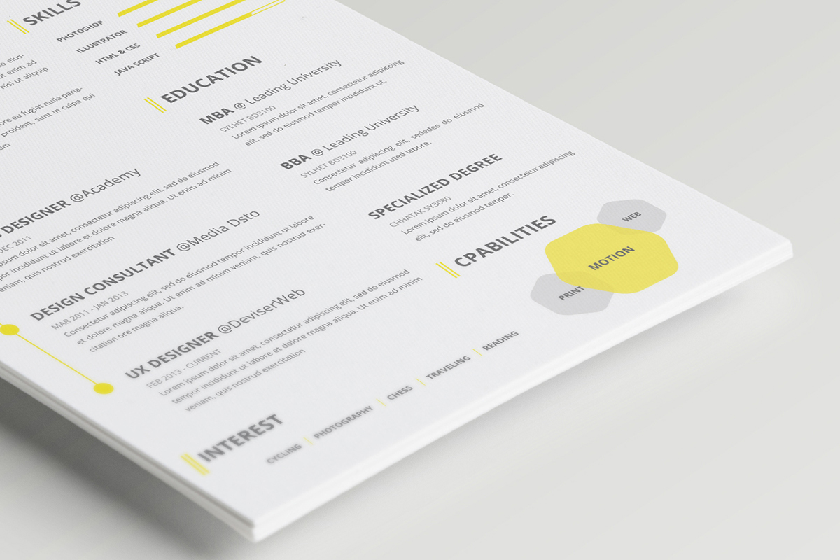 clean CV Resume psd downlload person Corpoate cover letter pro professional