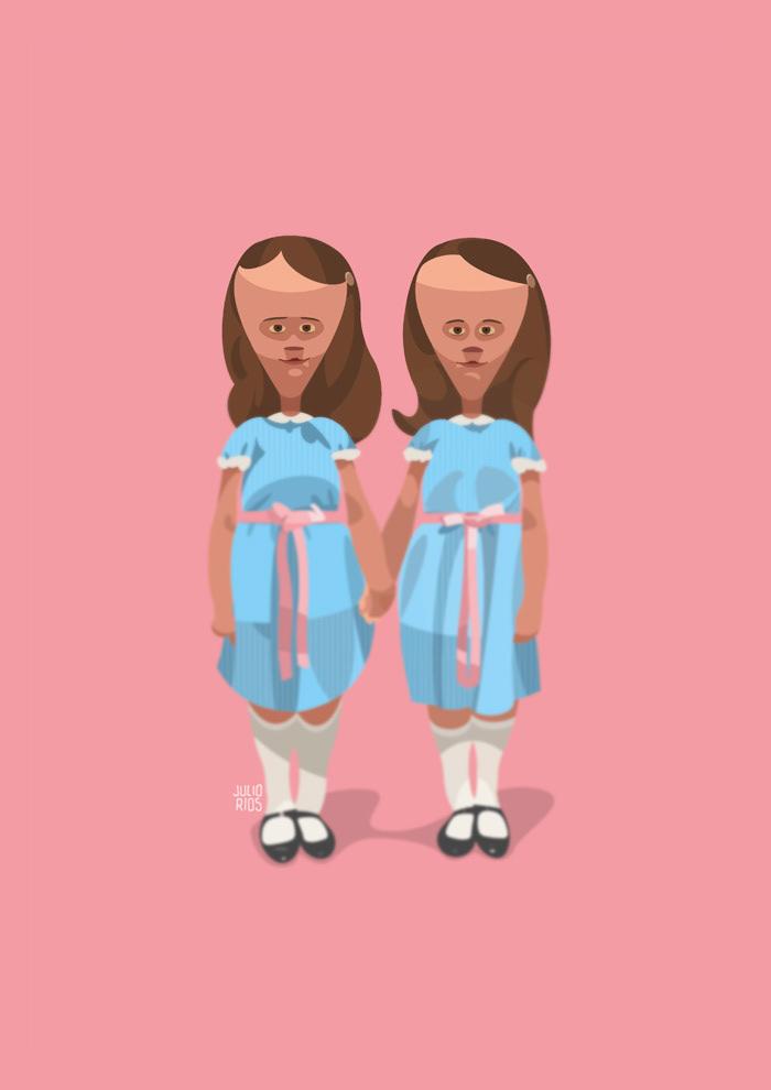 films creepy children the shining vector Illustrator Movies peliculas horror Terror niños digitalart horrorfilms himpericia