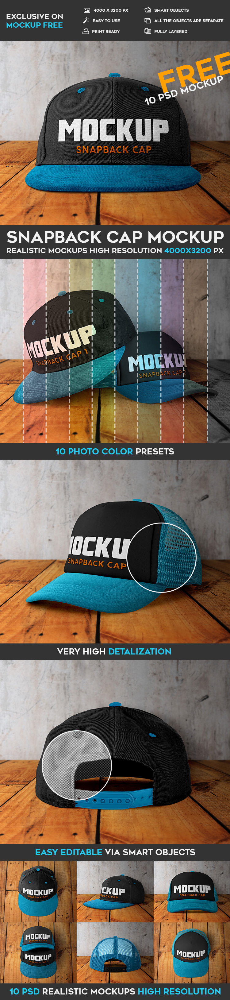 Our designers have created for your presentations and promoting this  interesting Snapback Cap that has 10 Free PSD Mockups and that is very  qualitative and ... 24f96a2d47ff