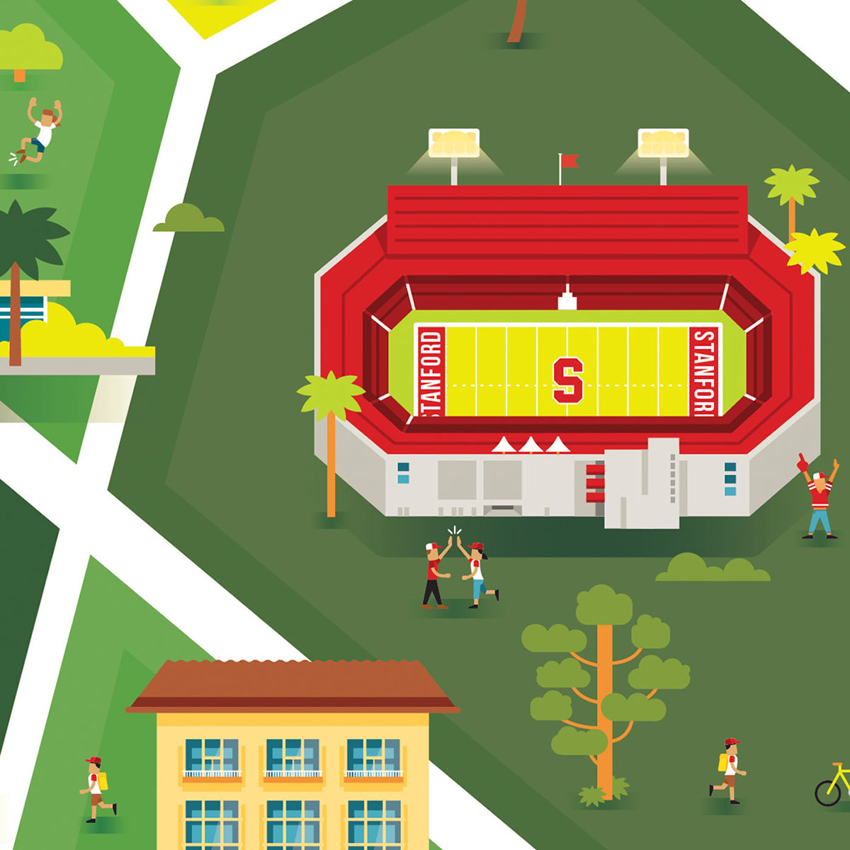 Stanford University Campus Map on Pantone Canvas Gallery