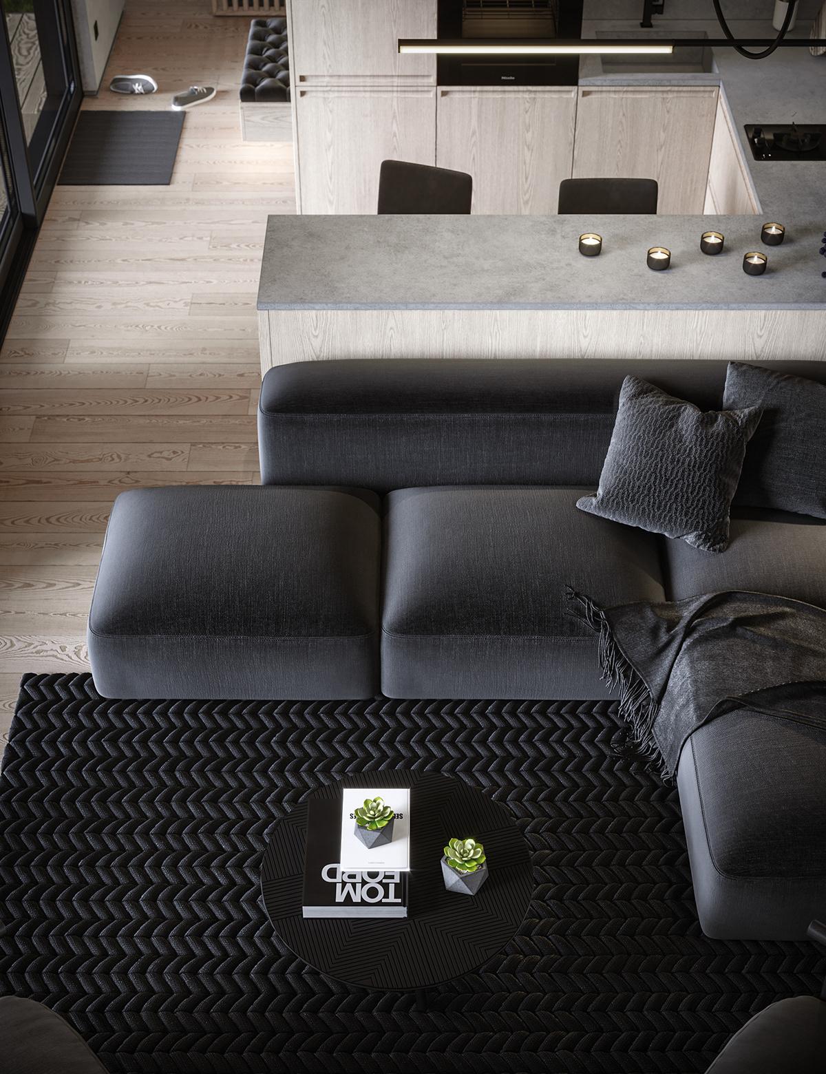3D Visualization bedroom homedesign interior design  kiev livingroom modulehouse coronarenderer Smallhouse smallhousedesigm