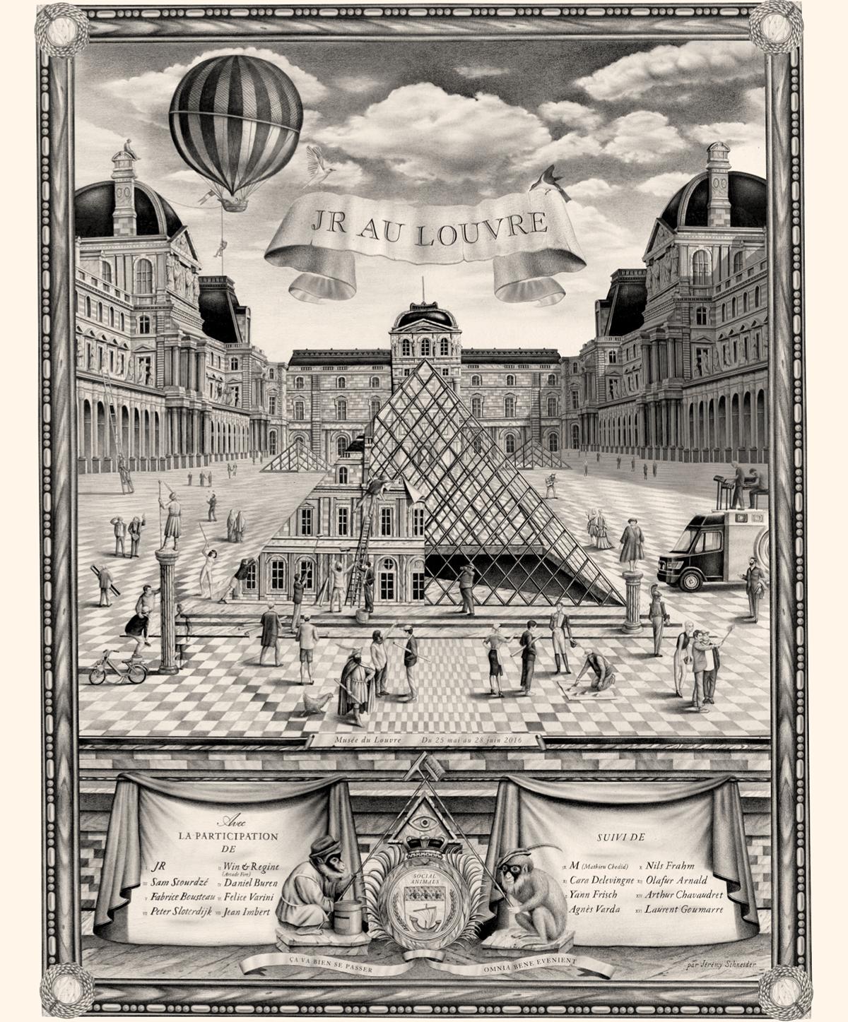 Violaine et Jérémy - illustration JR au Louvre