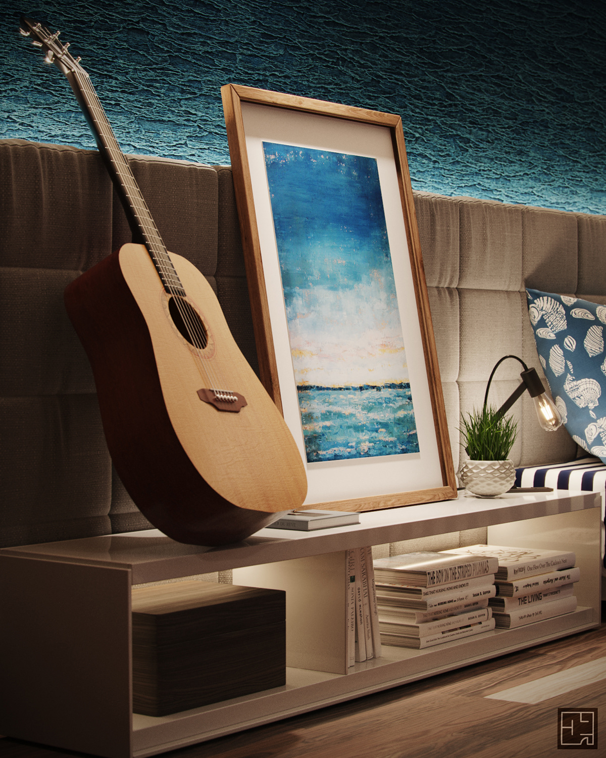 Image may contain: indoor, guitar and musical instrument