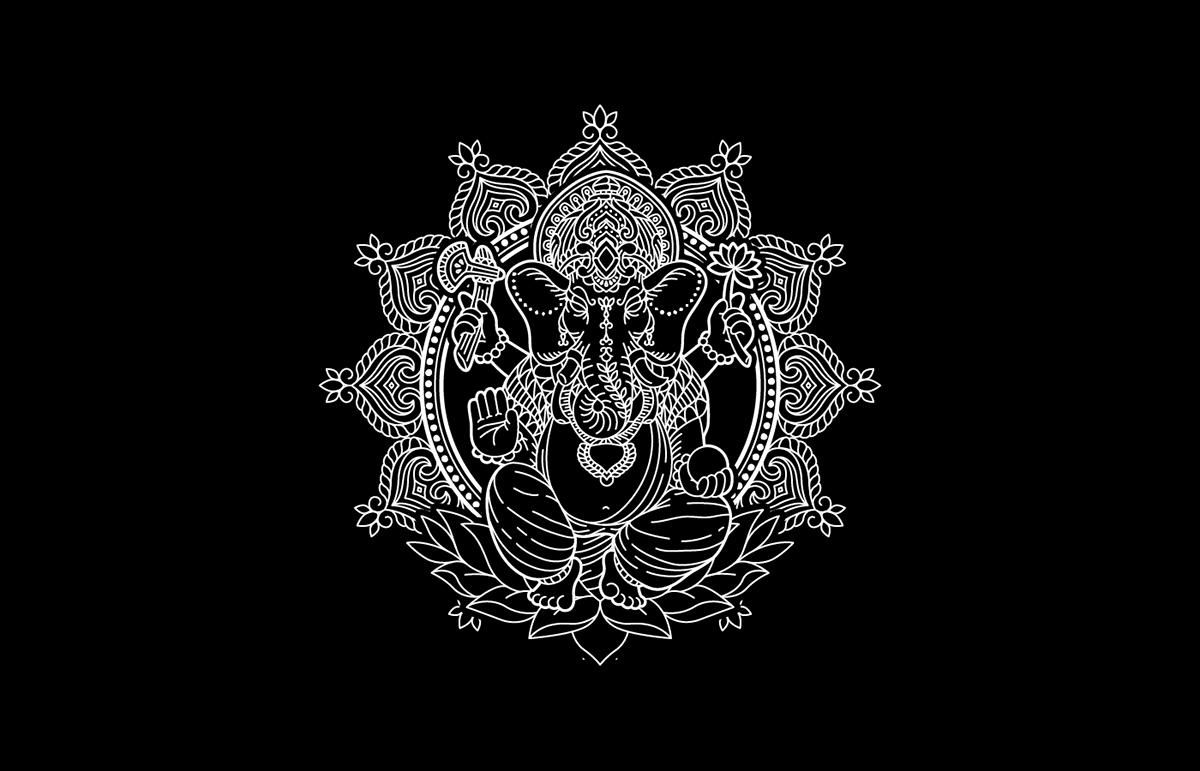 skull geisha Ganesh tattoo vector samurai snake Illustrator