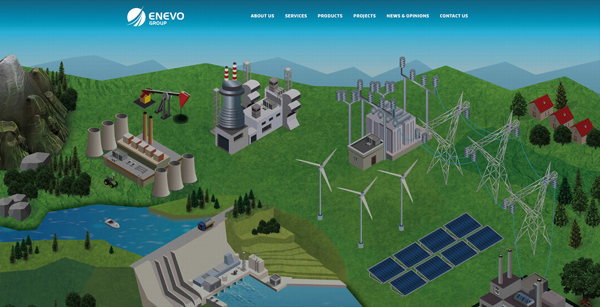 Website design solar energy wind Technology user-friendly mobile Enevo Enevo Group pqb