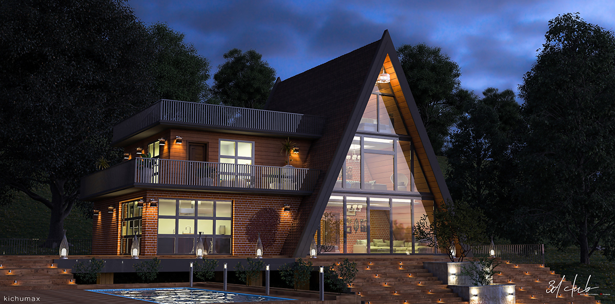 exterior 3d,kerala home,Modern COntemporary,slope land,wood house