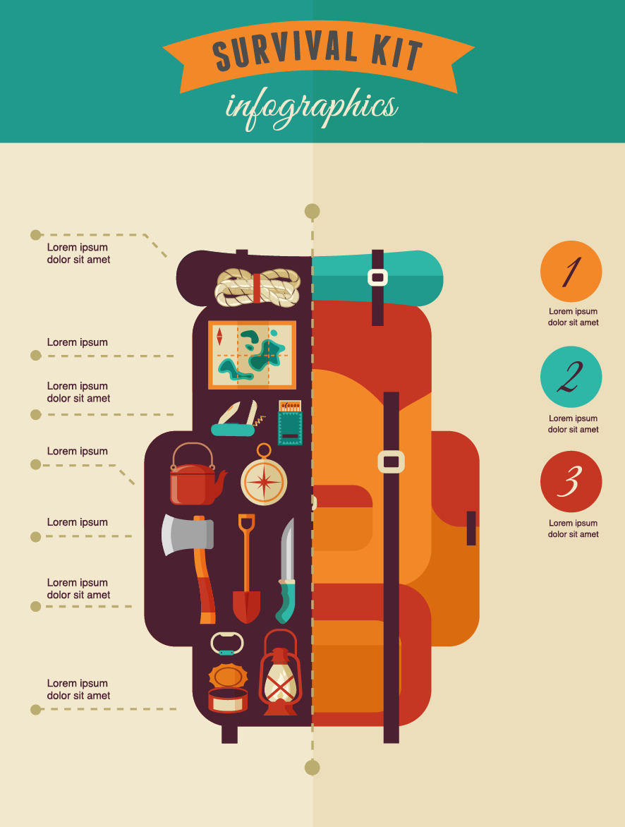 survival kit  camping and hiking infographics on behance