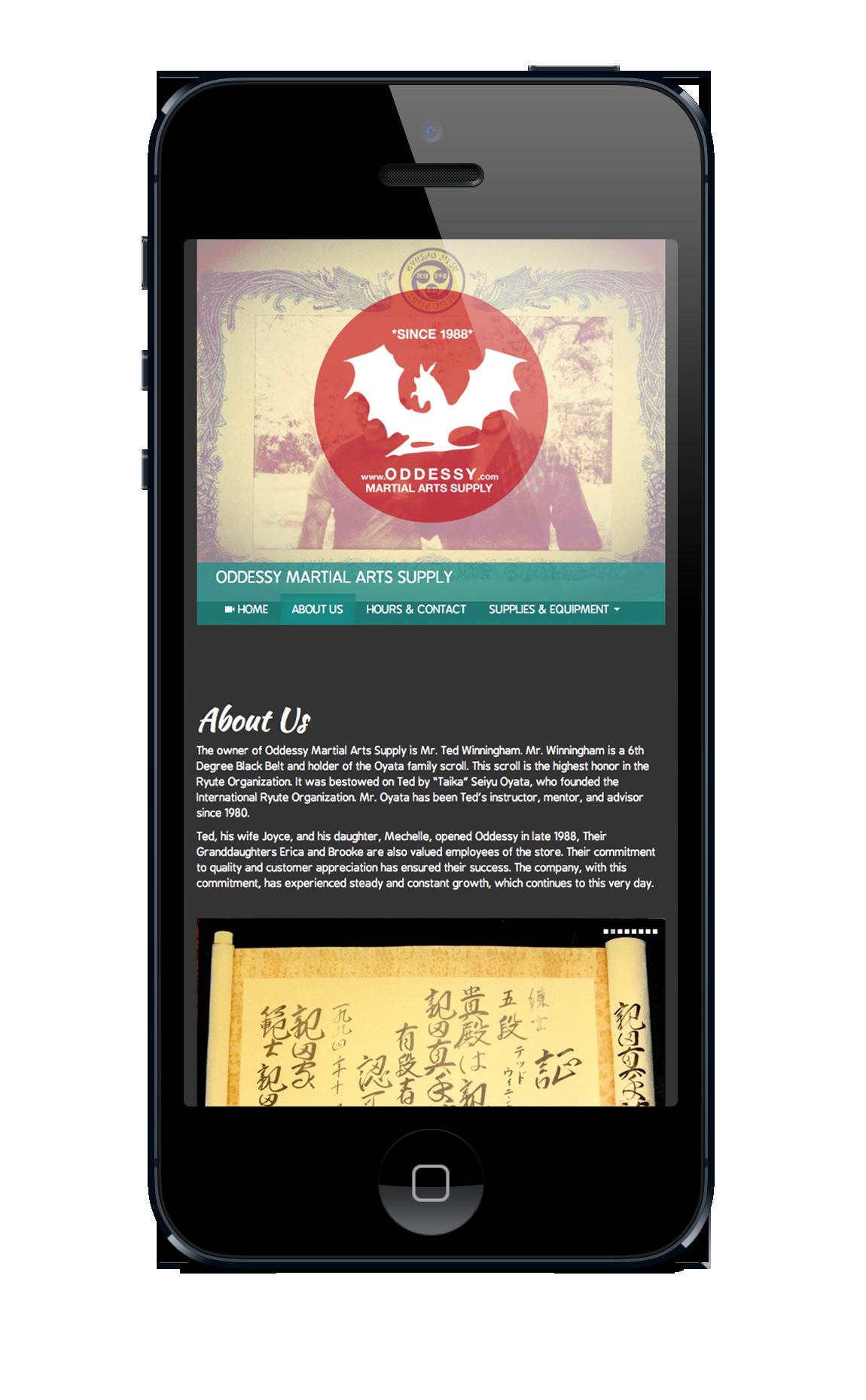 Oddessy Martial Arts supply kansas city Website Responsive