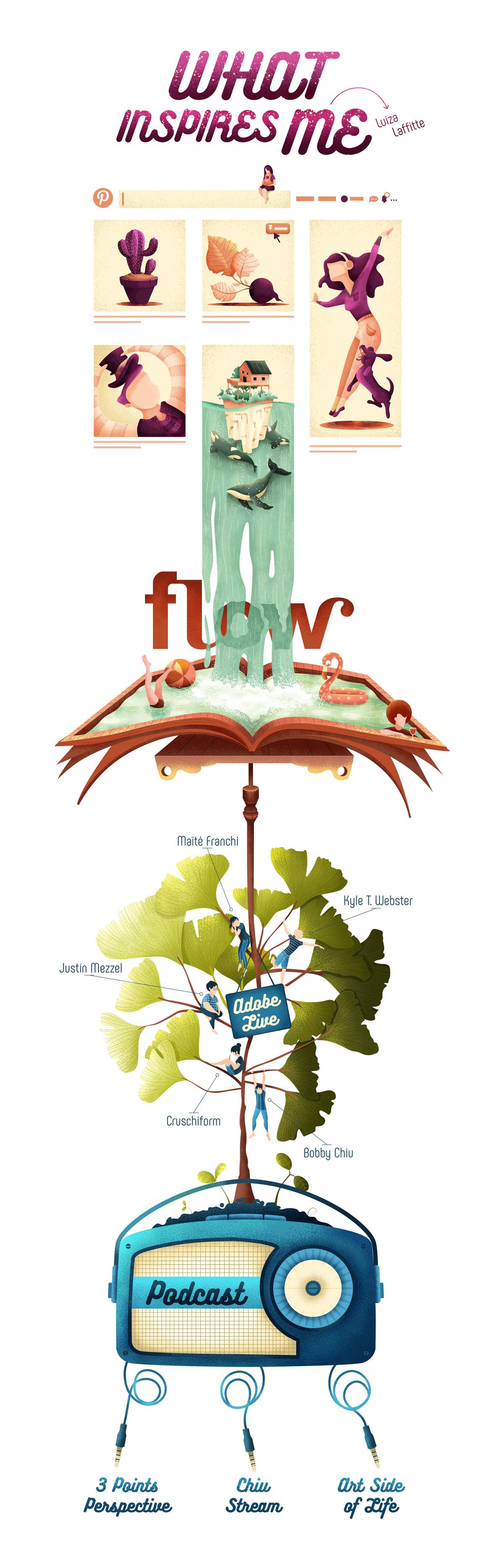 ILLUSTRATION  flow infographic graphic design  Pool Tree  Pinterest Adobe Live podcast
