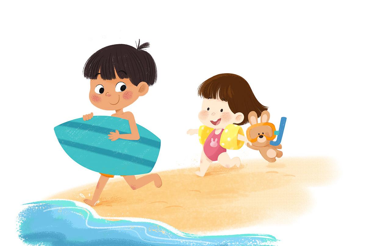 animals brothers children Digital Art  friends friendship ILLUSTRATION  kids play beach