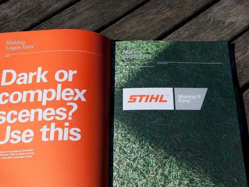 Stihl brand guidelines brand guidelines Back yard Australia logo brochure chainsaw simple