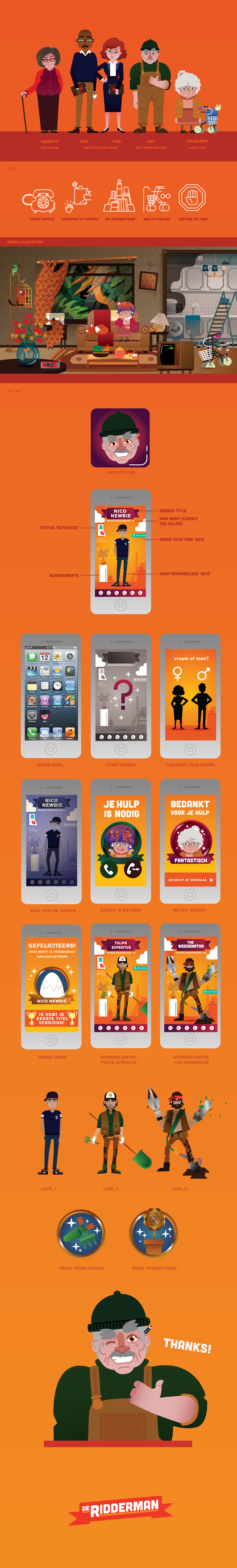 helpdesk help desk Elderly app search illustration hosts old nico activation gamification helping social avatar customization