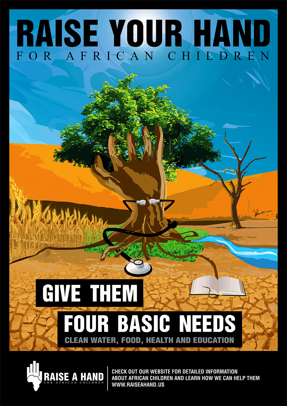 social responsibility African Children donation poster Web Design  campaign charity