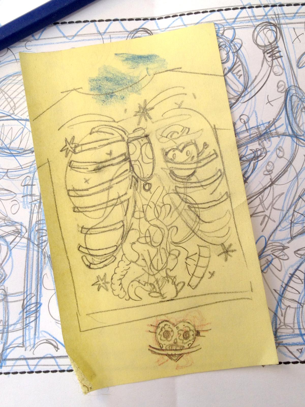 day of the dead anatomy skeleton dia de los muertos bones hand drawn type chest