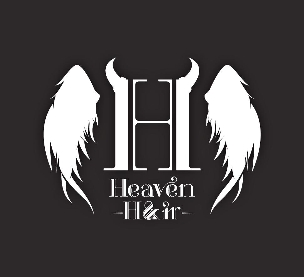 heaven and hair logo design clean simple black White