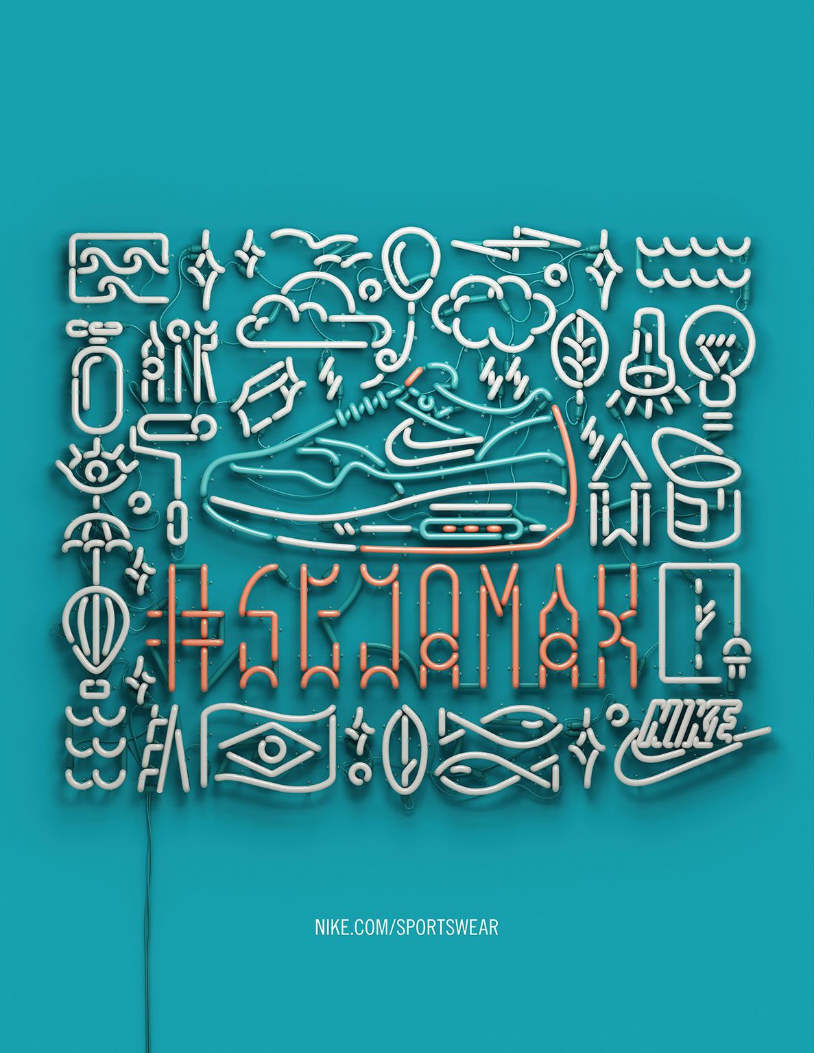 Nike,3dneon,neontype,tube,light,CGI,air max,airmax,Brasil,Signage,3dtypography,3D Type,pixação,nsw,neonsign