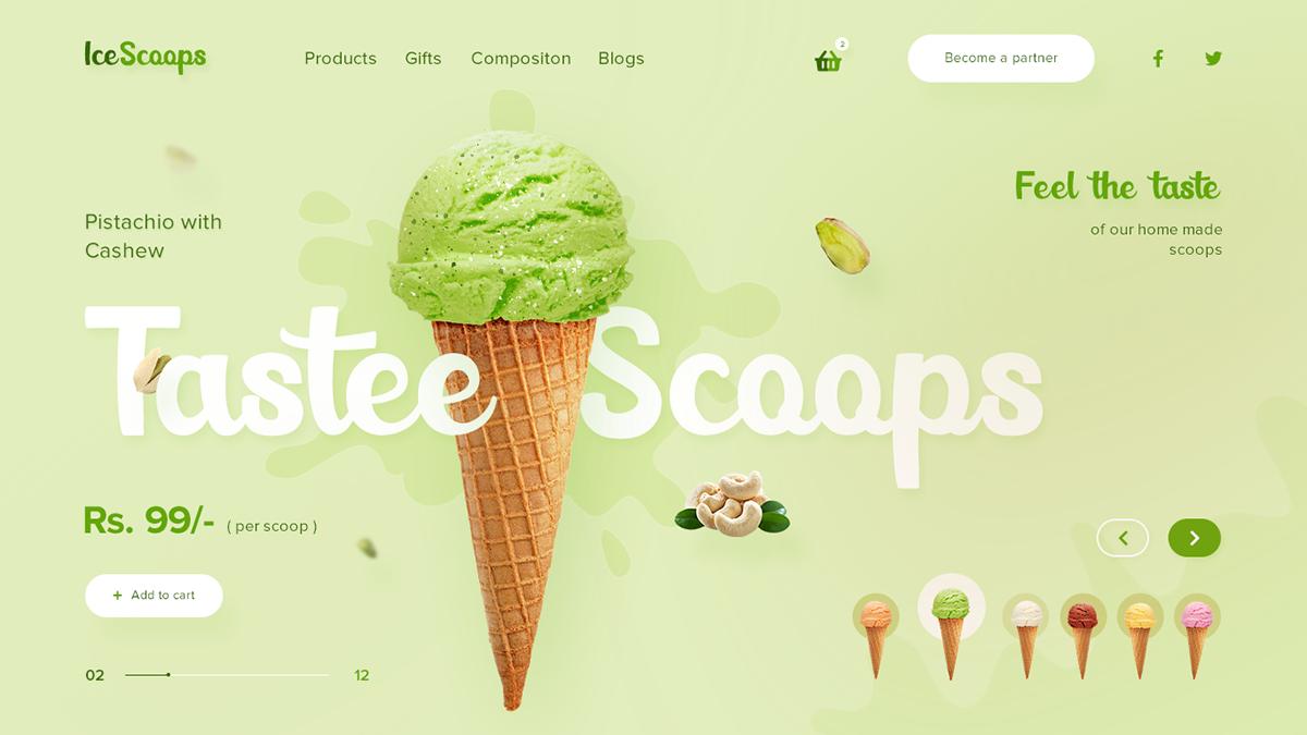 designer designs green ice cream Logo Designs product design  ui designs UX Designs Web Design  Web ui concepts
