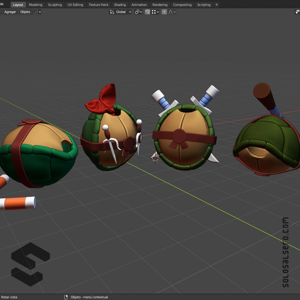 3D,blender,c4d,cinema4d,cute,modelado,modeling,TMNT,tortuga,Turtle