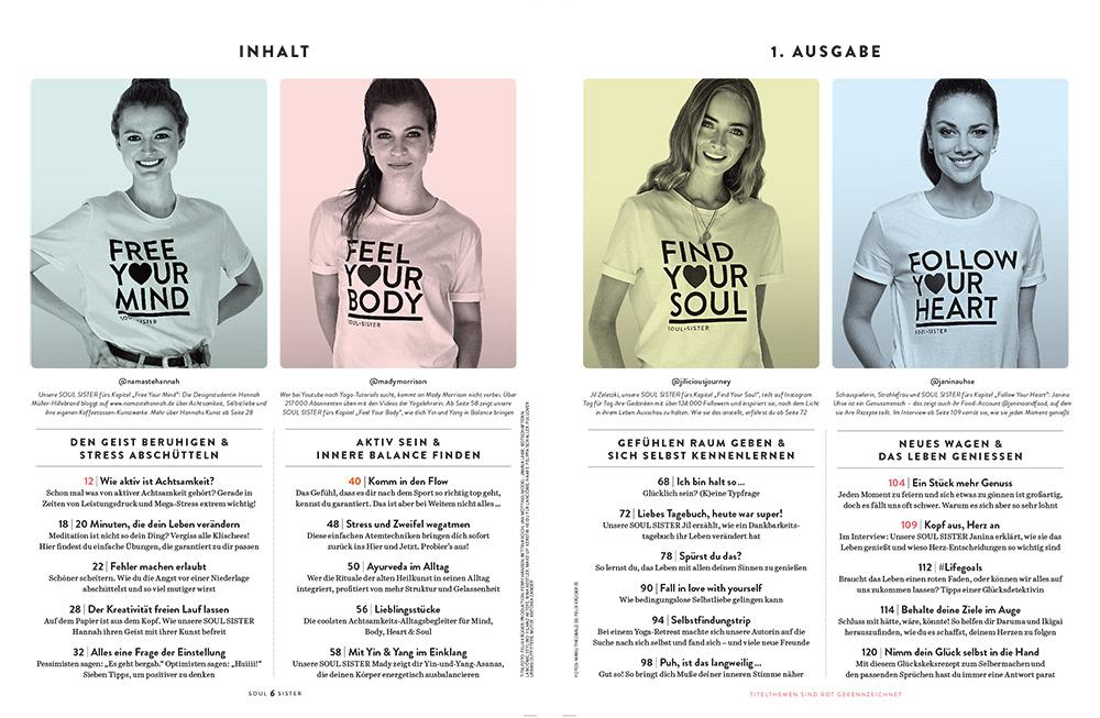 awareness magazine INFLUENCER Women's health soul sister Yoga heart soul editorial design  Creative Direction