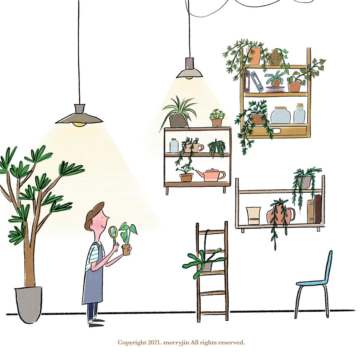 artwork Digital Art  Drawing  fresco ILLUSTRATION  Illustrator Procreate sketch green Plant