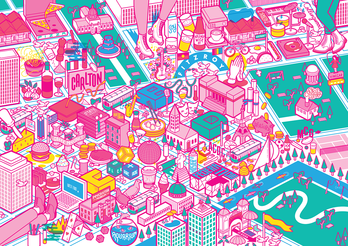 Book Cover Design Melbourne : Victionary citix melbourne illustrated map jacket on behance