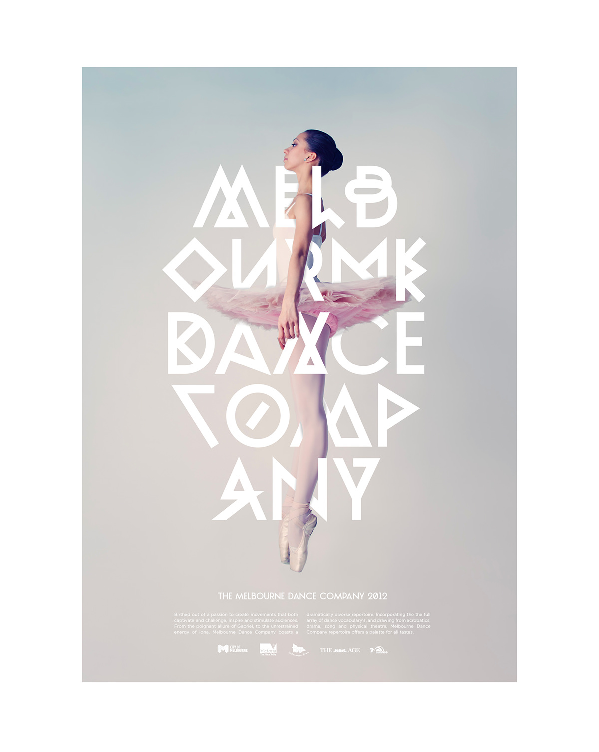 Adobe Portfolio Melbourne company ballet pink type ballerina White jump experimental new Australia dancing woman girl symmetry symmetrical line