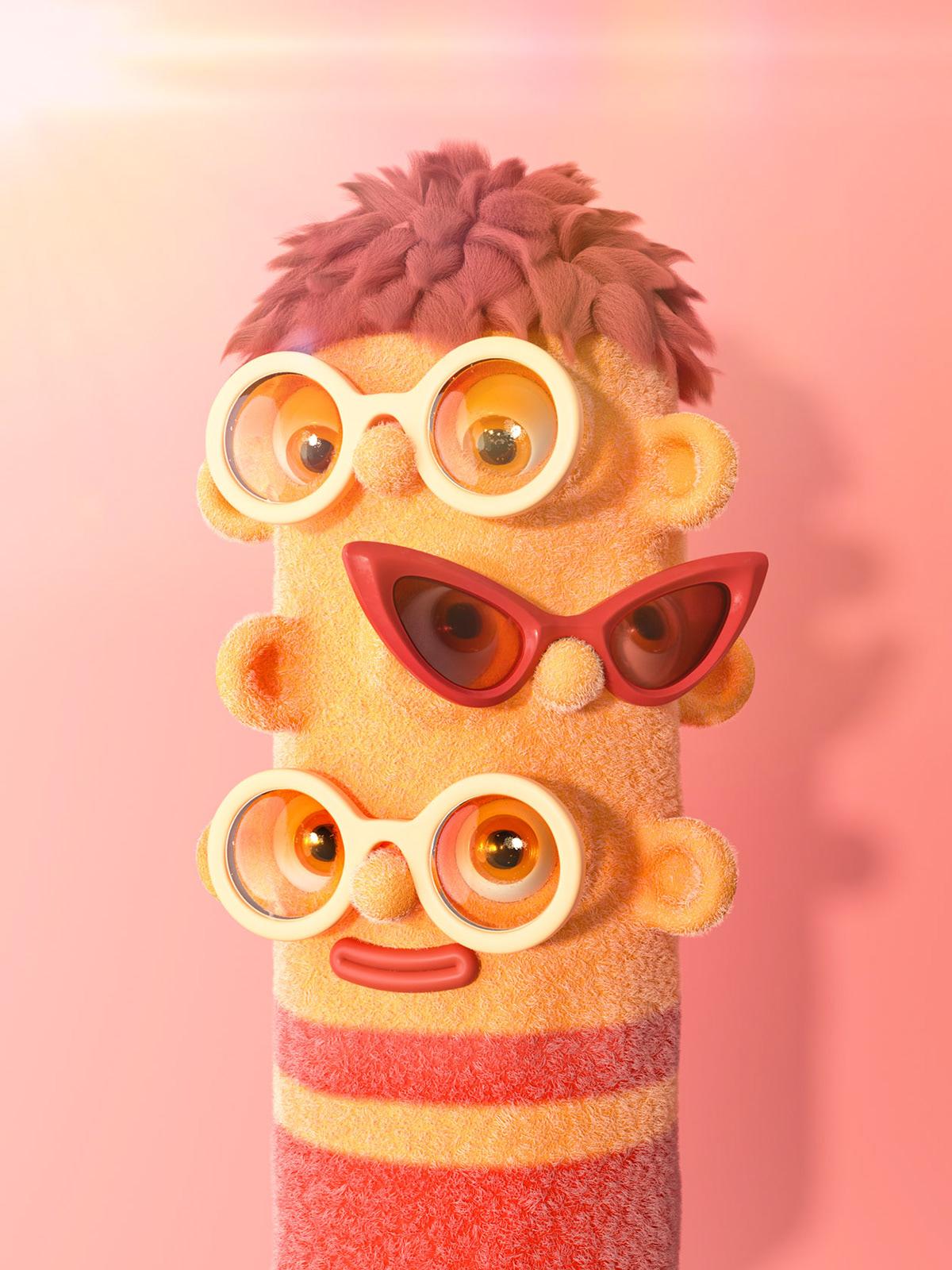 3D bortrait Character eyes eyewear faces glasses monster Shades Sunglasses