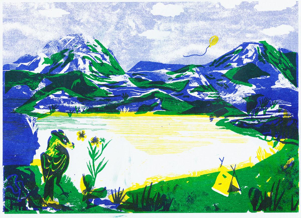 Risoprint Riso Scandinavian norway camping bird mountains