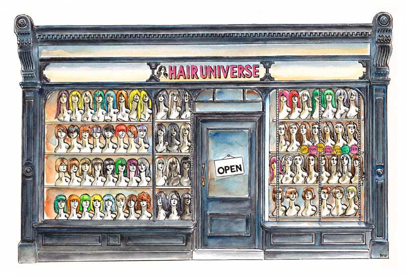 Watercolour of shopfront in York