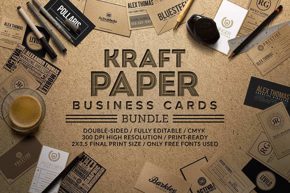 this business card bundle contains 10 high quality business card templates each business card is fully customizable and come in a well organized - Kraft Paper Business Cards