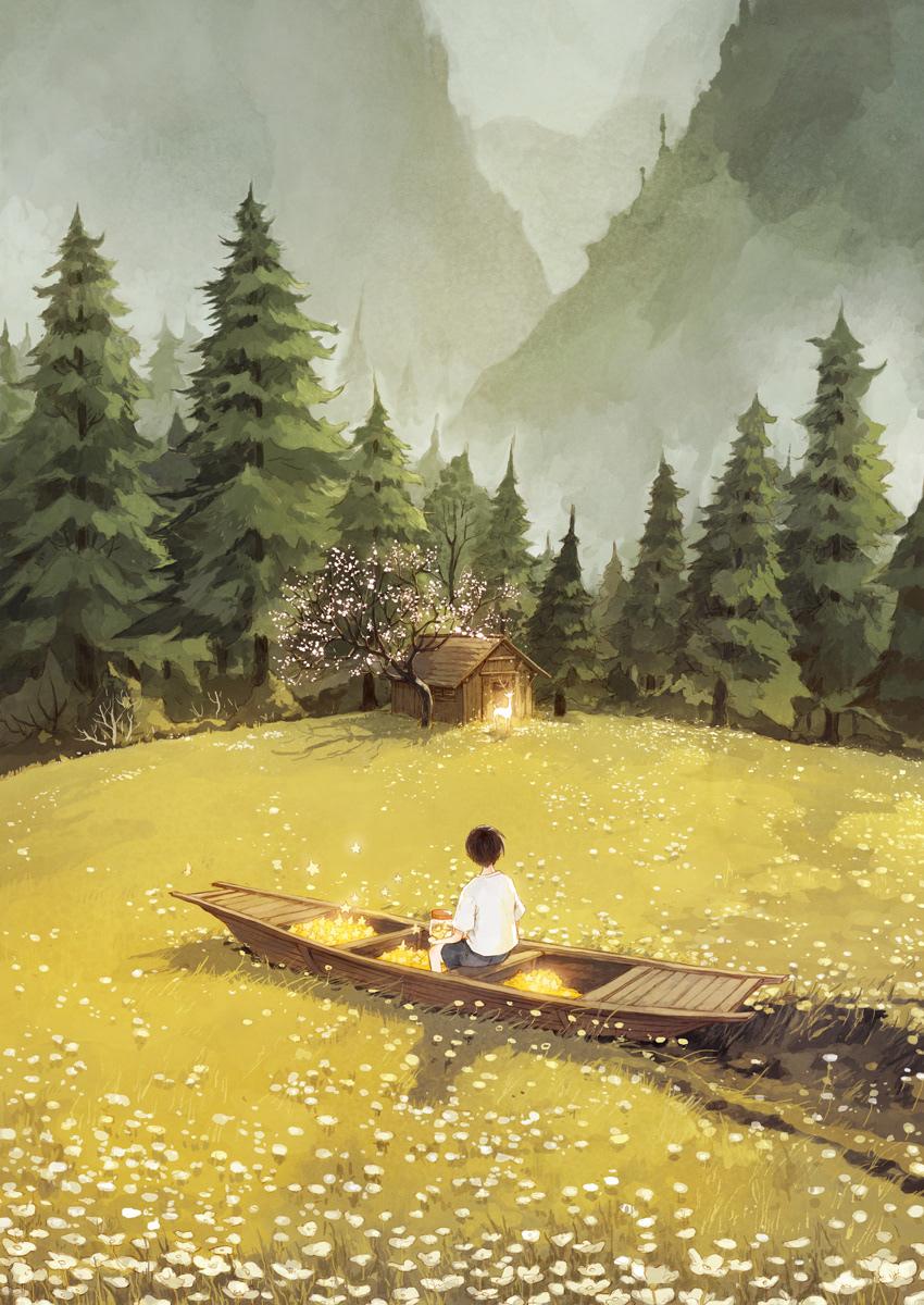 Image may contain: lake, canoe and boat