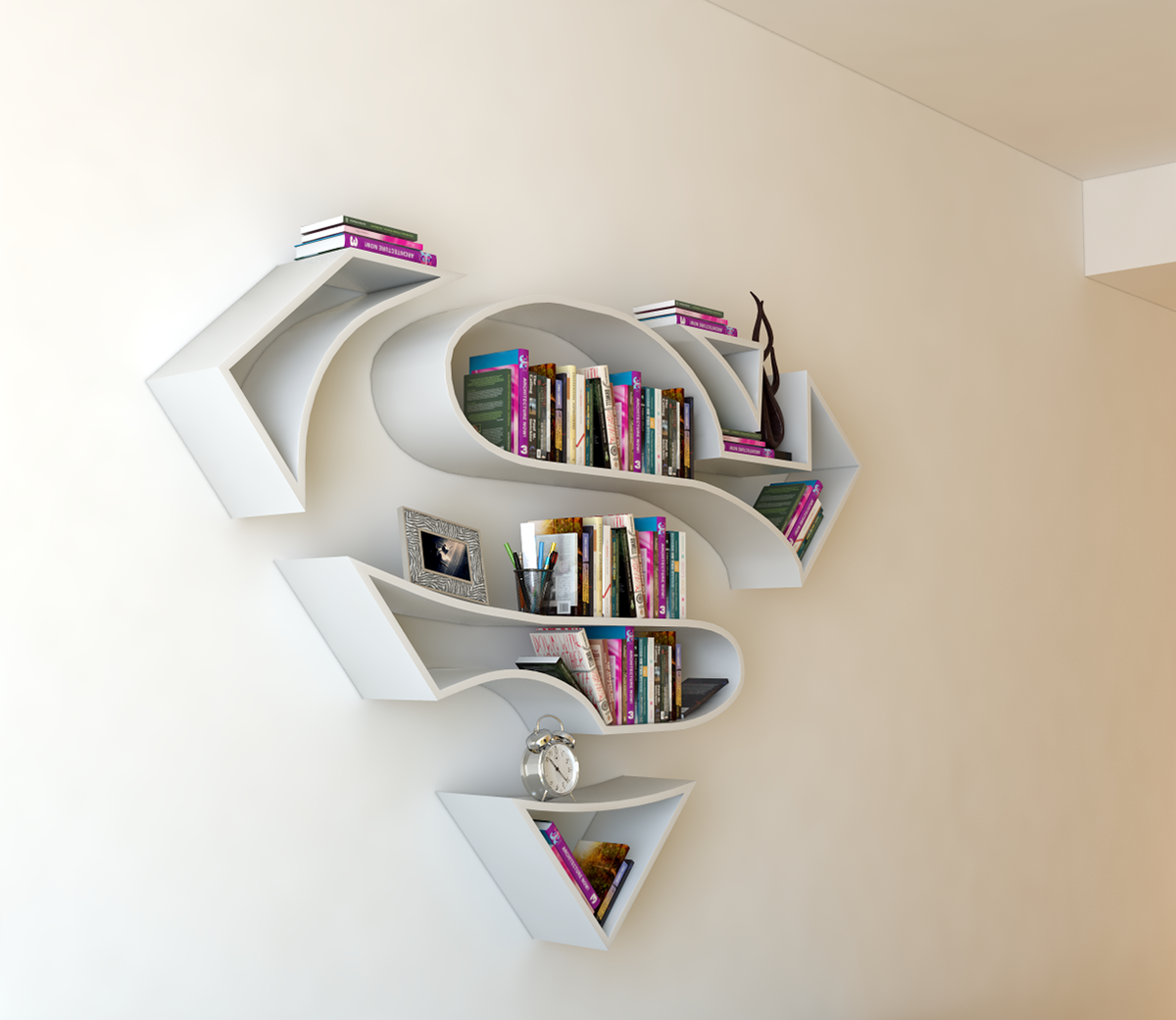 Superman Logo Shelf Interrior Design Bookshelf On Behance